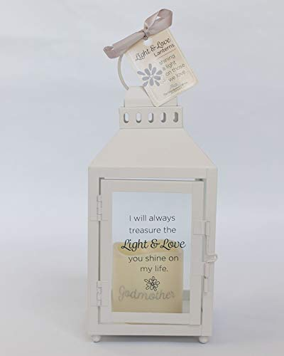 Light and Love White Lantern – Gift for Godmother On Baptism, Mother's Day, Christmas