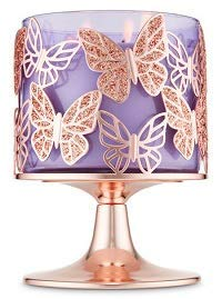 Bath and Body Works Rose Gold Glitter Butterflies 3 Wick Candle Holder.