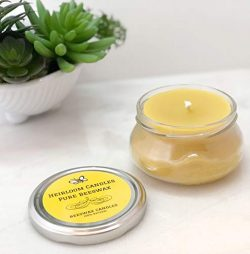 Pure Beeswax Candle Small Glass Jar – Unscented, Handmade, 6oz