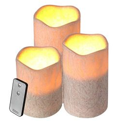 Housmile Flameless Candle 3 Pack Set Dripless Wax Candle Light with Remote Control, Candle Light ...