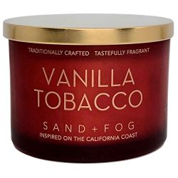 Vanilla Tobacco Scented Candle Red Frosted Jar