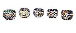 Lalhaveli Mosaic Glass Candle Holder Set 5