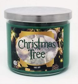S&M Candle Factory Christmas Tree Scented Candle ~14.5oz Glass 3 Wick Xmas Candle ~ 80 Hour  ...