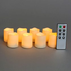 Outdoor Battery Votive Candles with Timer – Flameless Candle Set, Flickering LED Lights, W ...