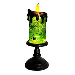 DRomance Halloween Candlestick Snow Globe Lighted, Battery Operated Flameless Candles Water Glit ...