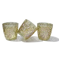 Lonovel Glass Candle Holder Votive Candle Holders,Set of 3 Tealight Holders,Vintage Flower Color ...