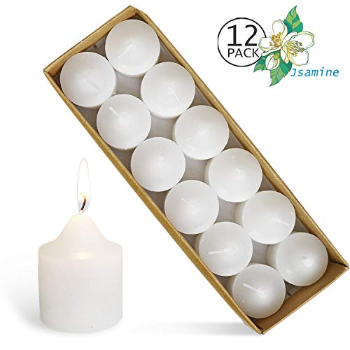 YIHAN Votive Candles White Jasmine Scented 5 Hour Burn Set of 12