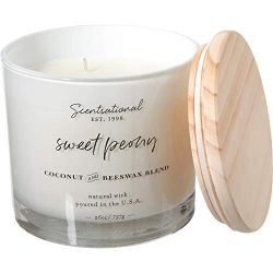 Scentsational Sweet Peony Coconut and Beeswax Candle -EX LARGE 3-Wick, 26 oz.