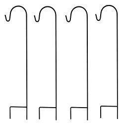 Ashman Shepherd's Hooks, Black, Set of 4 Made of Premium Metal for Hanging Solar Lights, B ...