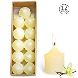 YIHAN Votive Candles Ivory Vanilla Scented 5 Hour Burn Set of 12