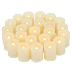 Candle Choice Set of 24 Premium Flameless Votive Candles, Battery-Operated, LED Candles, Long Ba ...