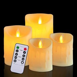 Flameless Candles Battery Operated Candles with Remote Timers,Set of 4 Electric Flickering Candl ...