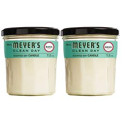 Mrs. Meyer's Clean Day Scented Soy Candle, Large Glass, Basil, 7.2 oz, (Pack of 2)