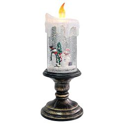 Eldnacele Battery Operated Lighted Flameless Candles Christmas Snow Globe Candle Light Swirling  ...