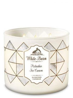 White Barn Bath & Body Works 3 Wick Candle Pistachio Ice Cream