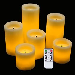 Eldnacele LED Flameless Flickering Candles Optical Fiber Wick with Remote and Timer, Battery Ope ...