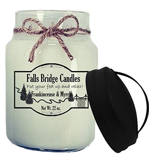 Falls Bridge Candles Frankincense & Myrrh Scented Jar Candle, 22-Ounce, w/Handle Lid