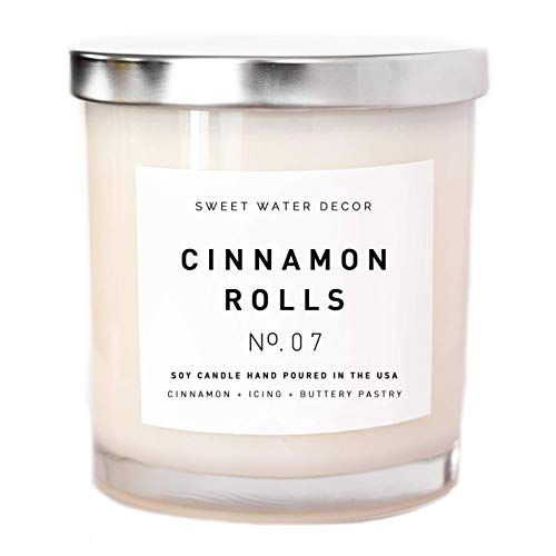 Cinnamon Rolls Natural Soy Wax Candle White Jar Decor Cinnamon Cloves Vanilla Icing Buttery Past ...