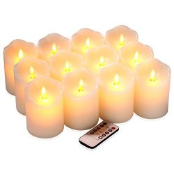 qinxiang Flameless Candles Flickering LED Candles Set of 12 (D:3″ X H:4″) Ivory Real ...