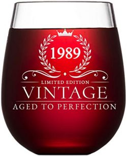 30th Birthday Gifts for Women and Men Turning 30 Years Old- 15 oz. Vintage 1989 Wine Glass ̵ ...