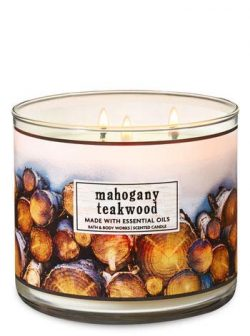 Bath & Body Works 3-Wick Candle Mahogany Teakwood (made with essential oils)