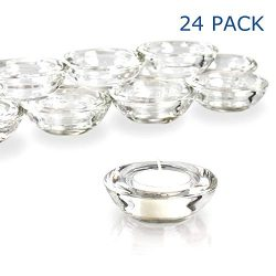 Elivia Clear Tealight Candle Holders – Set of 24, Round Chunky Glass Candle Holder, 3̸ ...