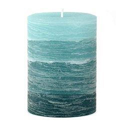 Nordic Candle – Layered Pillar Candle – 3×4 Inch Teal – Unscented