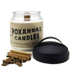 Cinnamon Scented Soy Candle with Crackling Wooden Wick | Handmade Artisan Scented Natural Fragra ...