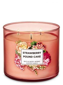 Bath and Body Works White Barn Strawberry pound Cake 3 Wick Candle 14.5 Ounce