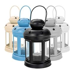 Nicola Spring Candle Lanterns Tealight Holders Vintage Metal Hanging Indoor Outdoor – 16cm ...