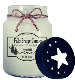 Falls Bridge Candles Hyacinth Scented Jar Candle, 22-Ounce, w/Star Lid