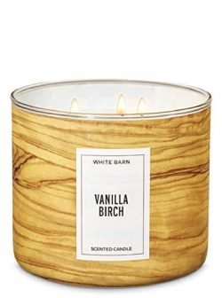 Bath and Body Works White Barn Vanilla Birch 3 Wick Candle 14.5 Ounce Golden Wood Grain Look