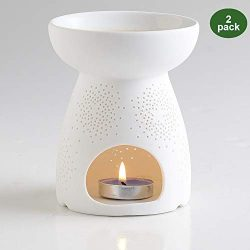 NJCharms Ceramic Oil Burner,Essential Oil Diffuser Aromatherapy Candle Warmer for Home Office Ba ...