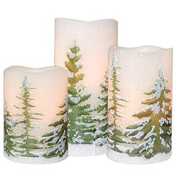 DRomance Flameless Candles Flickering Candles 3 AAA Battery Operated with Timer, Set of 3 Real W ...