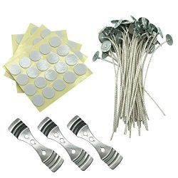MILIVIXAY Candle Wick Bundle: 100 Candle Wicks, 100 Stickers and 3 Wick Holders – Easy Pos ...