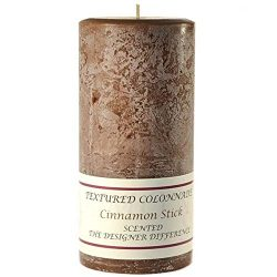 Pack of 2, Textured 4″ x 9″ Pillar Candles Cinnamon Stick for Weddings, Home & E ...