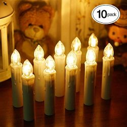 BlueFire Upgraded 10 Pack LED Candle Lights Flicker Flameless LED Taper Candles Lights with Remo ...