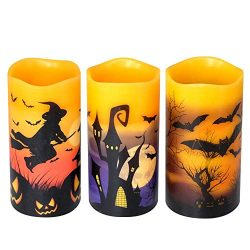 DRomance Flameless Flickering Candles Battery Operated with 6 Hour Timer, Set of 3 Real Wax LED  ...