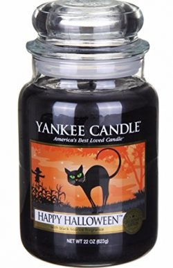 Yankee Candles Large Jar Happy Halloween Licorice Scent Candle 22 0z.