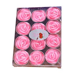 Creaon 12 Pink Rose Shaped Candle Set Smokeless Tea Light Candles for Valentine's Day Wedd ...