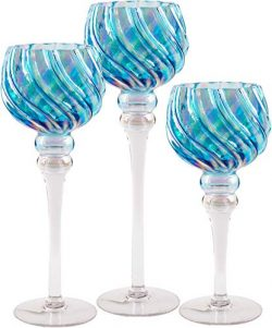 Hurricane Candle Holders Glass Set | 3-Piece Blue Tall & Attractive Votive, Pillar & Tea ...