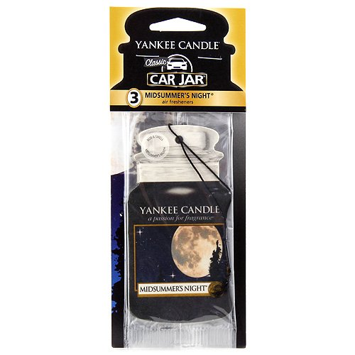 Yankee Candle Paper Car Jar Hanging Air Freshener MidSummer's Night Scent – 3 Pack