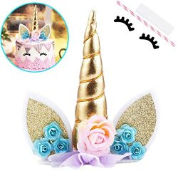 Unicorn Cake Topper with Eyelashes Party Cake Decoration Supplies for Birthday Party, Wedding, B ...