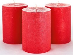 Melt Candle Company Set of 3 Red Pillar Candles 3″ x 4″ Rustic Unscented Handpoured  ...