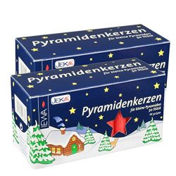 Jeka Red 14mm Diameter Pyramidenkerzen German Christmas Candles, 2 Sets of 50 (100)
