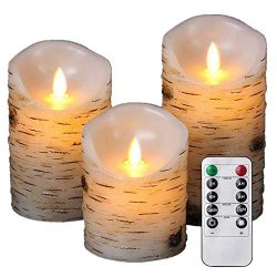 Enpornk ZW10003 Flameless Candles with brich Effect 4″ 5″ 6″ Set of 3 Dripless ...