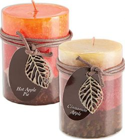 Fall Scented Candles Set Bundle of 2 Decorative Layered Pillar Candles 3 x 4 Inches (Hot Apple a ...