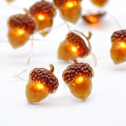 Impress Life Christmas String Lights, Acorn 10ft Silver Wire 40 LED Battery Powered with Dimmabl ...
