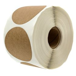 2″ Natural Brown Kraft Stickers / 500 Labels per Roll/Permanent Adhesive