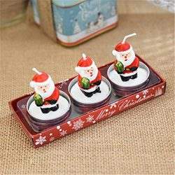 Hot Sale!DEESEE(TM)3 Christmas Candles with Santa House Snowman Xmas Party Gift Home Decor (D)